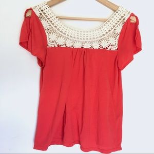 AEO • Orange Blouse Crochet Detailing Split Sleeve